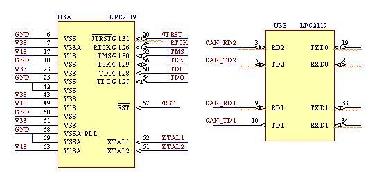 can总线详解     2, 硬件原理图    从以上可以看出,该硬件电路主要由